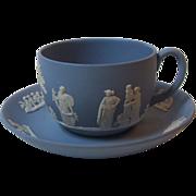 Wedgwood China Blue Jasperware Cup and Saucer Set, England