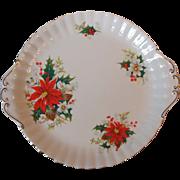 Royal Albert Yuletide Bone China Cake Plate Tab Handled England