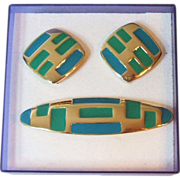 SALE Trifari TM Bar Pin Clip Earrings Blue Green Enamel Gold Tone Metal