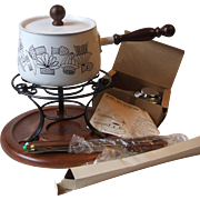 Vintage 1969 Dolphin Japan Black Mushroom White Enamel Ware Fondue Set Unused in Box
