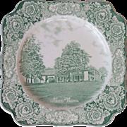 Crown Ducal George Washington Bicentenary Mount Vernon Square Green Transferware Memorial Plat