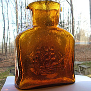 Vintage Kanawha Amber Glass Double Spout Water Bottle Sailing Ships West Virginia