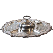 SOLD Vintage Birmingham Silver Co Silverplate Lazy Susan with Crystal Inserts and Lid Yalesvil
