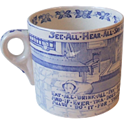 Crown Devon Fieldings Yorkshiremans Advice Mug Blue and White Transfer Ware Staffordshire Engl
