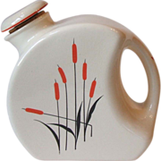 Universal Red Cattail Large Pottery Canteen Refrigerator Jug Pitcher with Stopper