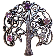 SALE Vintage Anson Sterling Silver Tree of Life Pin Brooch 5 Stones Clear Pink Purple