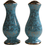 Vintage Hall / Pearl China Co USA Mini Fleurette Turquoise 22KT Gold Salt and Pepper Shakers