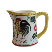 """Py Ucagco Japan Early Provincial Small Pitcher 3"""" With Labels Unused Rooster and Roses"""