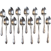 Rogers Oneida 1936 Meadowbrook Heather 12 Teaspoons Silverplate Flatware