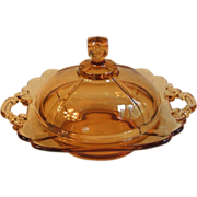 SALE Cambridge 3400 Amber Glass Round Butter Dish with Lid Square Knob