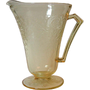 Hazel Atlas Florentine Poppy No 2 Pitcher Yellow Depression Glass Cone Foot 28 Ounce