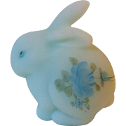 Fenton 5162 BL Blue Roses on Blue Satin Glass Spring Bunny Figurine ca 1978 - 1983 Signed