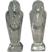 Vintage Clear Cut Crystal Glass Footed Salt and Pepper Shakers Glass Tops