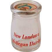 Vintage New London and Mohegan Dairies CT Glass Cream Creamer Milk Bottle with Cap Connecticut