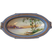 Vintage Nippon China Oval Dish Hand Painted Cottage Boat River Lake Scene Gold Blue Laurel Tri