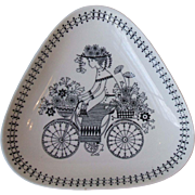 Arabia of Finland Pottery Emilia Bicycle Flower Girl Triangular Dish 6.5 Inch Mid Century Mode