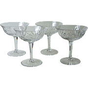 Set of 4 Gorham Cherrywood Crystal Sherbet Coupe Champagne Glasses