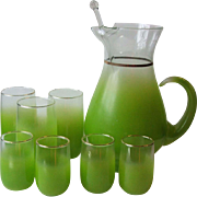 West Virginia Glass Specialty Blendo Lime Green Cocktail Pitcher with Stirrer 3 Tumblers Four
