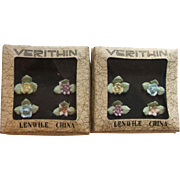 8 Lenwile Verithin Ardalt Japan Pastel China Flower Place Card Holders 2 Boxes of Four ...
