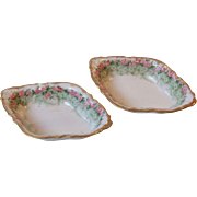 2 Guerin Pouyat Limoges France Porcelain Open Salt Cellar Dips Nut Dishes Bawo and Dotter Elit