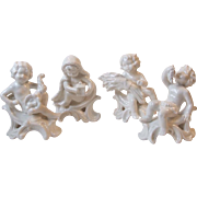 Set 4 Goebel W Germany White Putti Baby Cherub Figurines 1977 Grapes, Lantern, Cornucopia, Whe