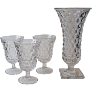 Fostoria Glass American 3 Clear Low Water Goblets and Square Footed Flower Vase 9.75 ...