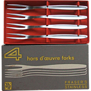 WMF Cromargan Germany Laurel Set of 4 Stainless Steel Hors d'oeuvre Snail Cocktail Forks in Or