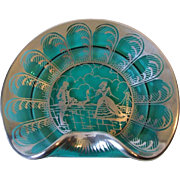 Vintage Teal Glass Dish With Sterling Silver Overlay Deposit Colonial Scene