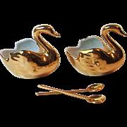 Veritable Porcelaine D'Art Limoges France Gold Plated Swan Open Salt Pepper Cellars with Spoon