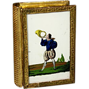 SOLD Antique French Cardboard Box with two hand-painted Miniature Scene Under Glass