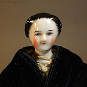 Exceptional Early German China Head Lady Doll with Rare Sculpted Hair