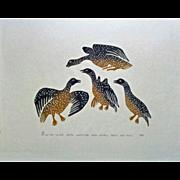 "Inuit, Eskimo Print, Limited Edition ""Birds Landing"" Povungnituk, 1982"