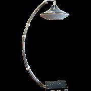 Mid-Century Italian Arc Floor Lamp on Marble Base.