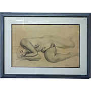 Reclining Female Nude Drawing by Jean Costanzo