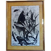 "Original Abstract Black and White Charcoal Drawing ""Ikarus"" on Paper by Rewo Niessl,"