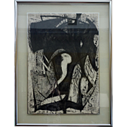 Original Abstract Black and White Charcoal Drawing on Paper by Rewo Niessl, 1985