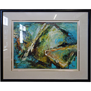 Abstract Acrylic Painting on Paper by Friedrich Gradisnik, 1986
