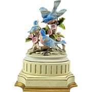 Hand-Painted Porcelain Bird Sculpture, Lamp Base