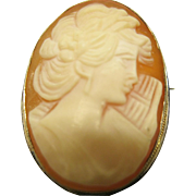 Vintage 800 Silver Carved Cameo Pin Broach Pendant