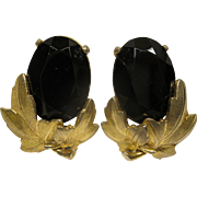 Signed Circa 1970's Large Schiaparelli Faux Black Onyx Rhinestone Clip Earrings
