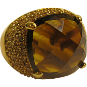 Signed KJL Kenneth J Lane Large Amber Stone Jeweled Dome Ring Sz 10.5
