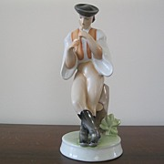 Zsolnay Porcelain Figurine of Man Playing Flute--Height 10.5 inches