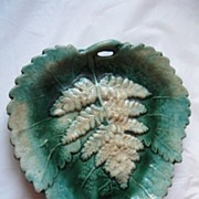 Antique Majolica Plate with Leaf Pattern