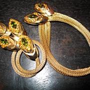 Vintage Signed Kramer Green & Orange Rhinestone Bracelet & Pin Set