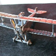 "Vintage Sterling Silver ""MACCHI Nieuport 11"" Model Airplane--Made in Italy"