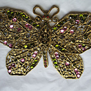 Vintage Thelma Deutsch Multi Colored Stone Large Butterfly Pin--6 Inches Wide