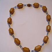Vintage 1930's Deco Butterscotch Bakelite & Crystal Chain Necklace
