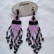 SALE PENDING Vintage Chipita Long Pink & Black Beaded Pierced Earrings