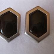 Vintage YSL Yves Saint Laurent Pierced Earrings--Brown Stone set in Silver Color Metal