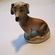 Vintage Zsolnay Hand Painted Porcelain Dachshund Dog Figurine
